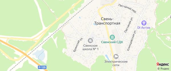 Брянская улица на карте поселка Свень-транспортной с номерами домов