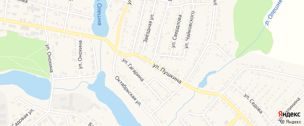 Улица Пушкина на карте Дятьково с номерами домов