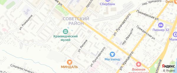 Улица Репина на карте Брянска с номерами домов