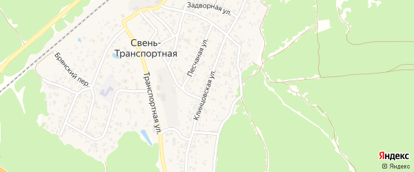 Клинцовская улица на карте поселка Свень-транспортной с номерами домов