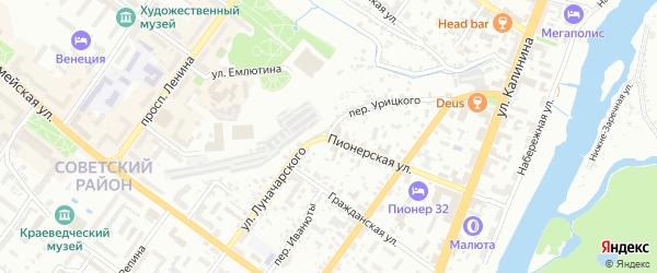 Территория ГСО по ул Луначарского на карте Брянска с номерами домов