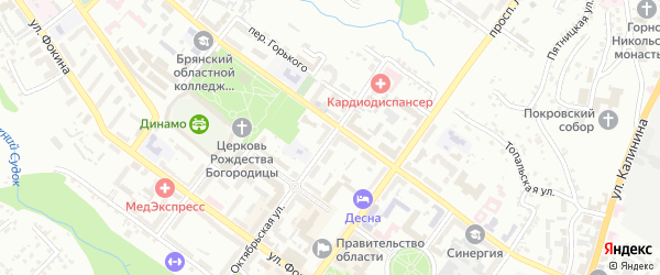 Октябрьская улица на карте Брянска с номерами домов