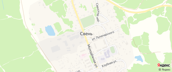 Школьная улица на карте поселка Свеня с номерами домов