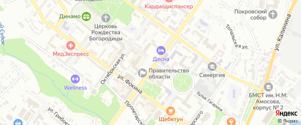 Запрудная улица на карте Брянска с номерами домов