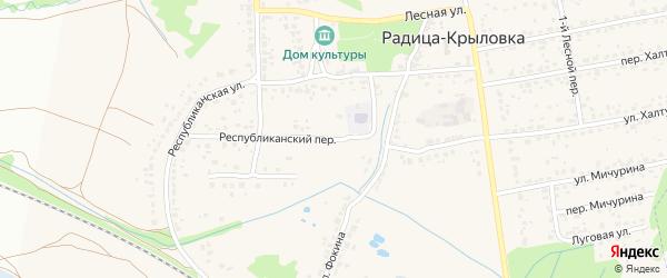 Республиканский переулок на карте поселка Радицы-Крыловки с номерами домов