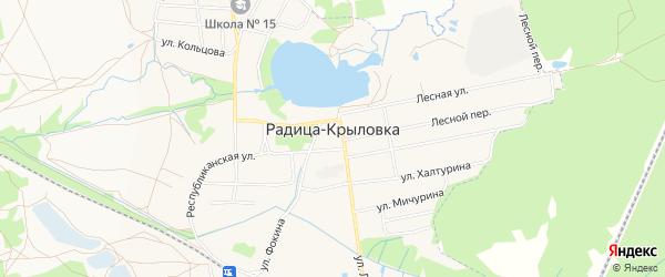 Карта поселка Радицы-Крыловки города Брянска в Брянской области с улицами и номерами домов