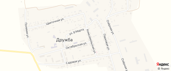 Луговая улица на карте поселка Дружбы с номерами домов