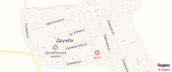Озерная улица на карте поселка Дружбы с номерами домов