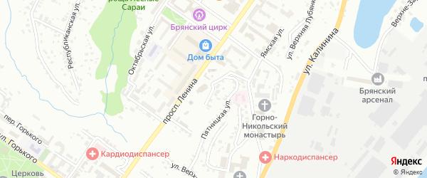 Октябрьский переулок на карте Брянска с номерами домов
