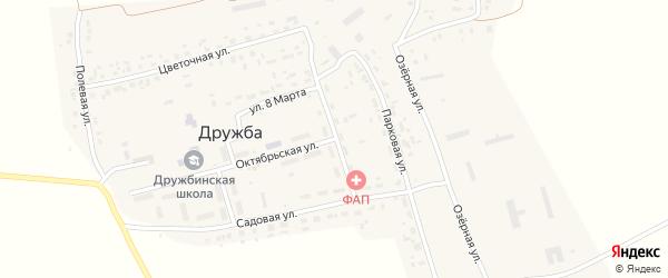 Комсомольская улица на карте поселка Дружбы с номерами домов