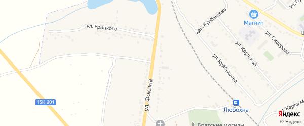 Улица Фокина на карте поселка Любохны с номерами домов