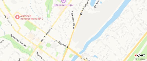 Территория СО им. Калинина на карте Брянска с номерами домов
