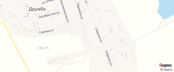 Парковая улица на карте поселка Дружбы с номерами домов