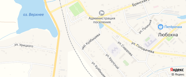 Территория ГСК в районе улицы Куйбышева на карте поселка Любохны с номерами домов