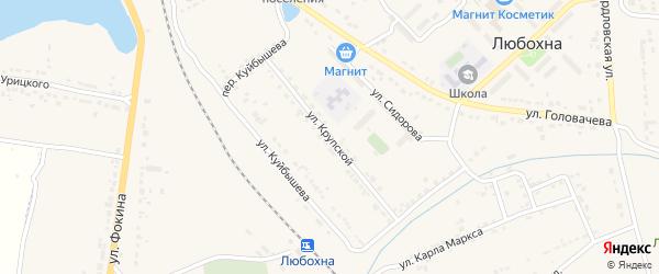 Улица Крупской на карте поселка Любохны с номерами домов