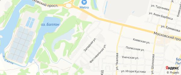 Территория ГСК Западный на карте Брянска с номерами домов