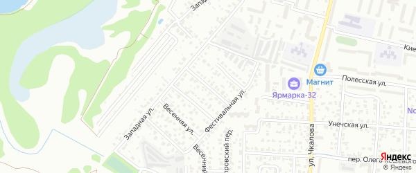 Западный переулок на карте Брянска с номерами домов