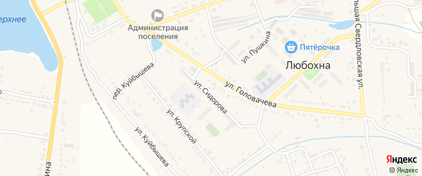 Переулок Куйбышева на карте поселка Любохны с номерами домов
