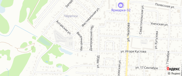 Днепровский переулок на карте Брянска с номерами домов