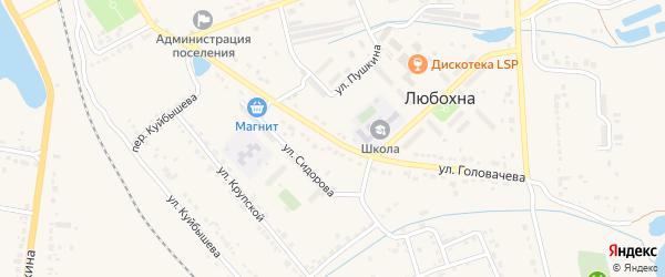 Улица Головачева на карте поселка Любохны с номерами домов