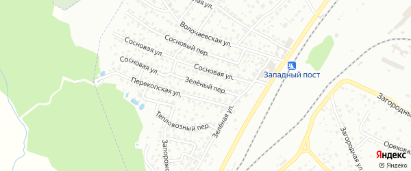 Зеленый переулок на карте поселка Снежка с номерами домов