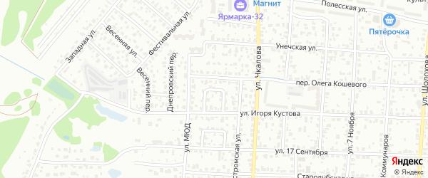 Тихий переулок на карте Брянска с номерами домов