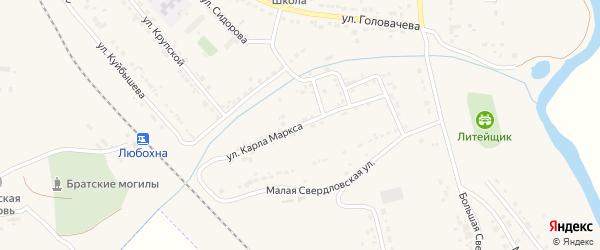 Улица Карла Маркса на карте поселка Любохны с номерами домов
