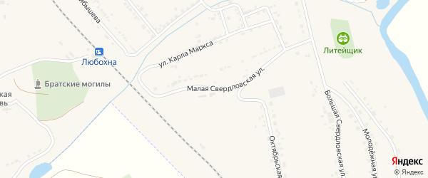 Малая Свердловская улица на карте поселка Любохны с номерами домов