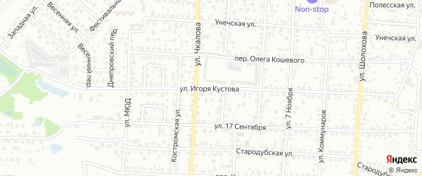 Улица Игоря Кустова на карте Брянска с номерами домов