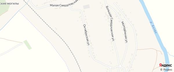 Октябрьская улица на карте поселка Любохны с номерами домов