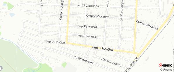 Переулок Чкалова на карте Брянска с номерами домов