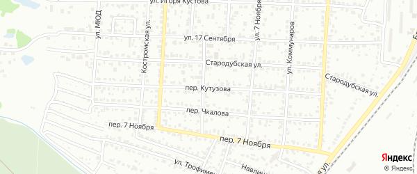 Переулок Кутузова на карте Брянска с номерами домов