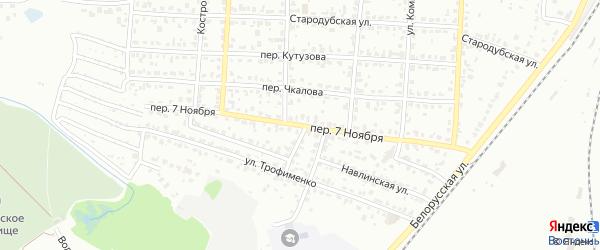 Переулок 7 Ноября на карте Брянска с номерами домов