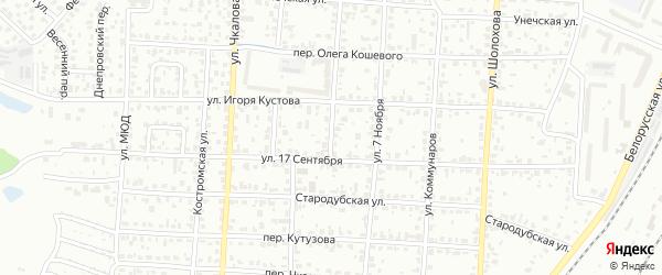 Улица Кутузова на карте Брянска с номерами домов