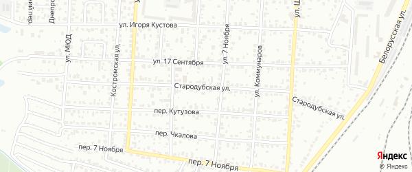 Стародубская улица на карте Брянска с номерами домов