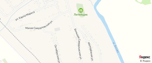 Большая Свердловская улица на карте поселка Любохны с номерами домов