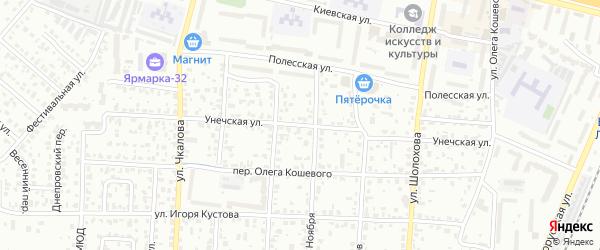 Унечская улица на карте Брянска с номерами домов