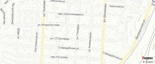 Улица 7 Ноября на карте Брянска с номерами домов