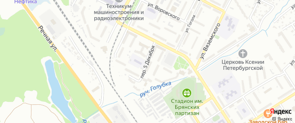 Переулок 5 Декабря на карте Брянска с номерами домов