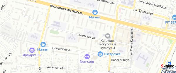 Киевская улица на карте Брянска с номерами домов