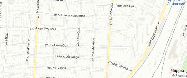 Улица Коммунаров на карте Брянска с номерами домов