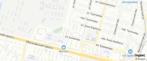 Рыночный переулок на карте Брянска с номерами домов