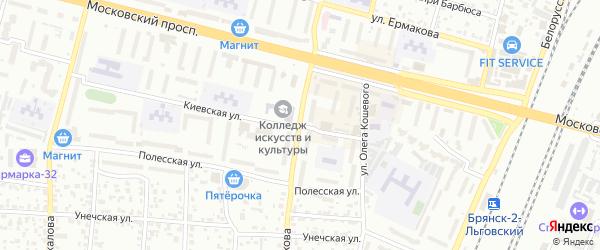 Улица Шолохова на карте Брянска с номерами домов