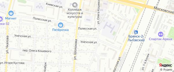 Унечский переулок на карте Брянска с номерами домов