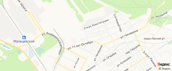 Территория БГ по пер 11 лет Октября на карте Брянска с номерами домов