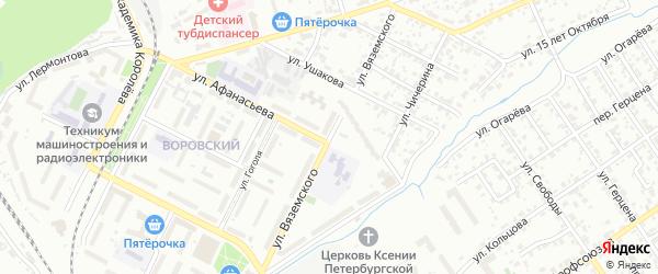 Улица Вяземского на карте Брянска с номерами домов