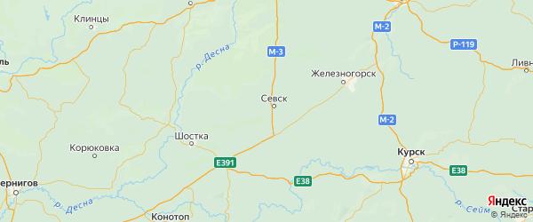 Карта Севского района Брянской области с населенными пунктами и городами