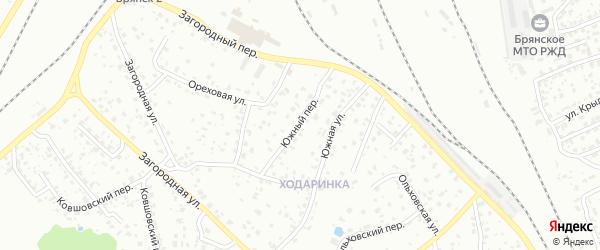 Южный переулок на карте Брянска с номерами домов