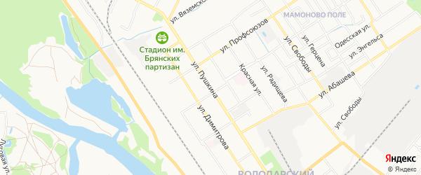 Территория БГ по ул Пушкина в районе стадиона на карте Брянска с номерами домов