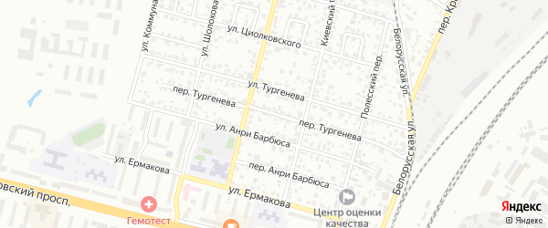 Переулок Тургенева на карте Брянска с номерами домов
